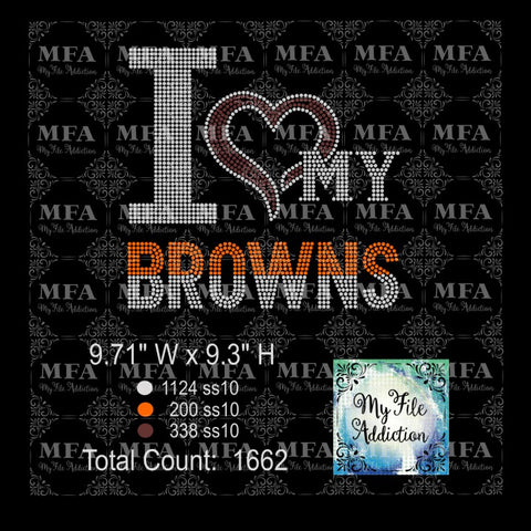 I Love My Browns Football Rhinestone Digital Download File