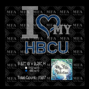I Love My HBCU 2 Colors Rhinestone Digital Download File