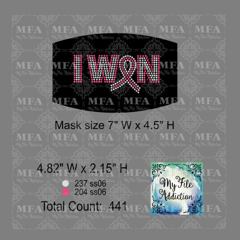 I Won with Ribbon Cancer Small Rhinestone Digital Download File