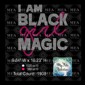 I Am Black Girl Magic Rhinestone Digital Download File