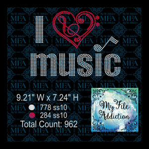 I Heart Music Rhinestone Digital Download File - My File Addiction