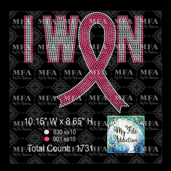 I Won with Ribbon Cancer Rhinestone Digital Download File - My File Addiction