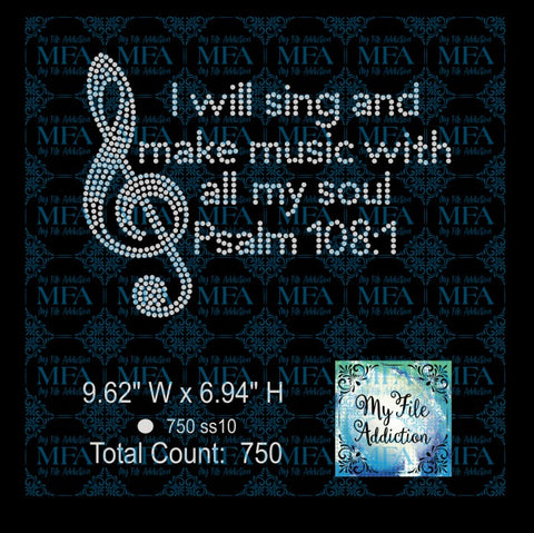 I Will Sing Psalm 108:1 Rhinestone Digital Download File - My File Addiction