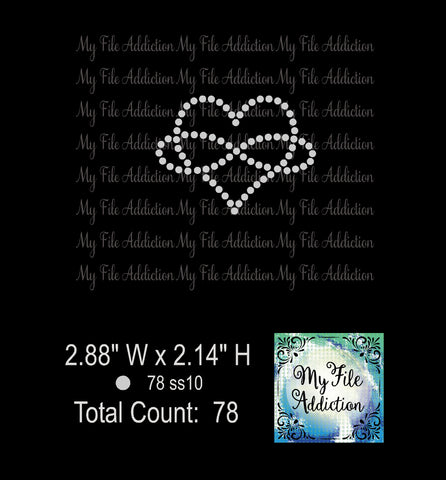 Free Infinity Heart Single Color Rhinestone Digital Download File - My File Addiction