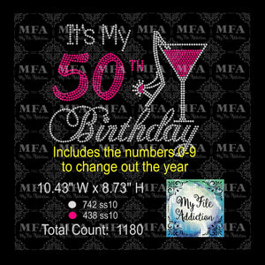 It's My Birthday Number Rhinestone Digital Download File - My File Addiction