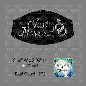 Just Married Small Rhinestone Digital Download File
