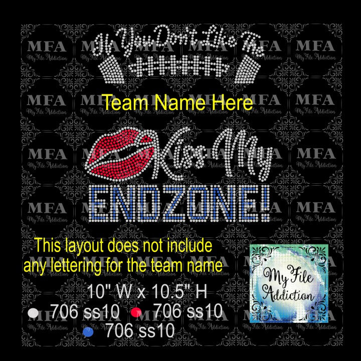 Kiss My Endzone Rhinestone Digital Download File - My File Addiction