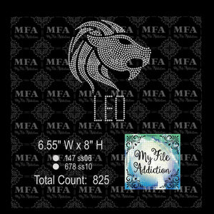 Leo Zodiac Rhinestone Digital Download File - My File Addiction