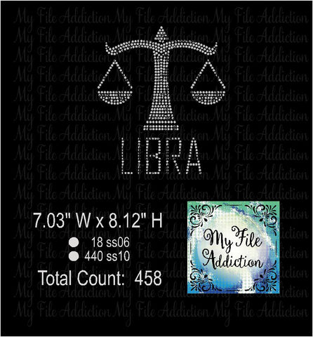 Libra Zodiac Rhinestone Digital Download File - My File Addiction