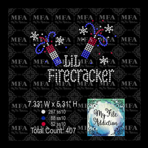 Lil Firecracker Rhinestone Digital Download File - My File Addiction