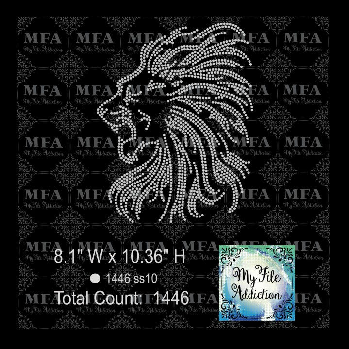 Lion Rhinestone Digital Download File - My File Addiction