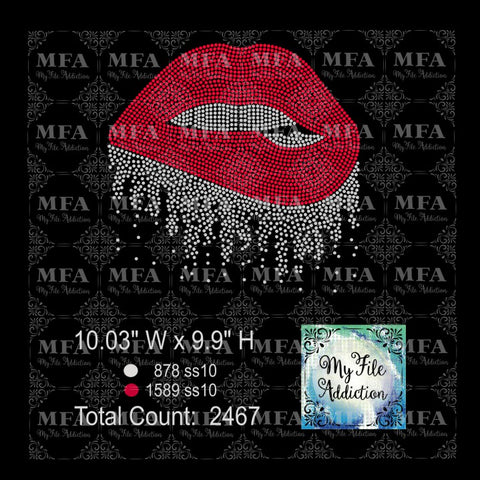 Lips Dripping Rhinestone Digital Download File