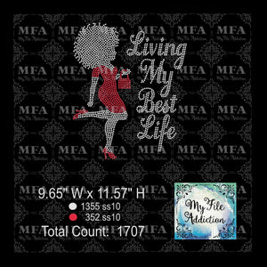 Living My Best Life Woman Rhinestone Digital Download File - My File Addiction