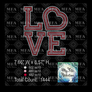 Love Stacked 3 Colors Rhinestone Digital Download File
