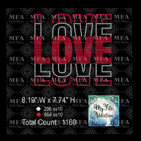 Love Fan Out Stacked Rhinestone Digital Download File - My File Addiction