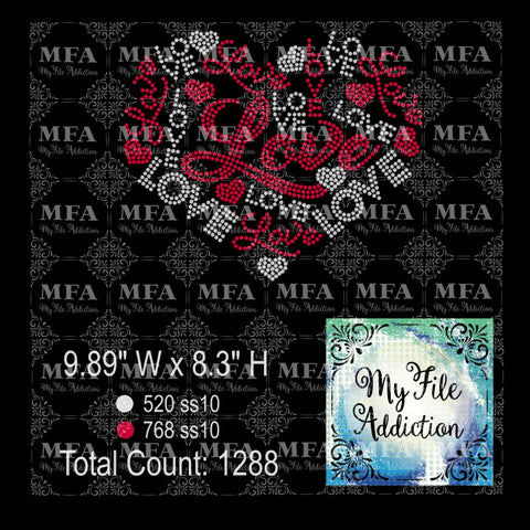 Love Heart 2 Color Rhinestone Digital Download File - My File Addiction