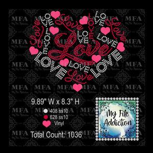 Love Heart Rhinestone & Vector Digital Download File - My File Addiction