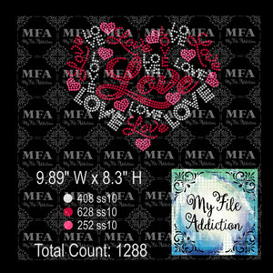 Love Heart 3 Colors Rhinestone Digital Download File