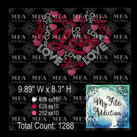 Love Heart 3 Colors Rhinestone Digital Download File - My File Addiction