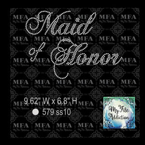 Maid of Honor Rhinestone Digital Download File - My File Addiction