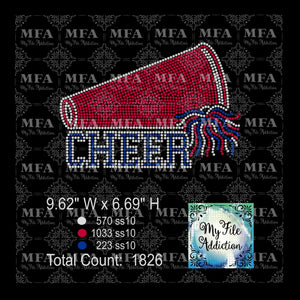 Megaphone with Cheer Pom Pom Rhinestone Digital Download File - My File Addiction