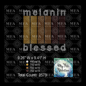 Melanin Blessed Rhinestone Digital Download File