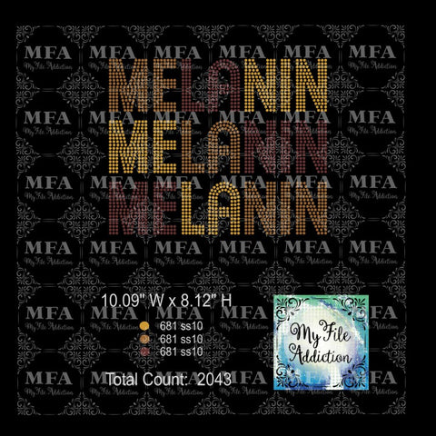 Melanin Tri Color Rhinestone Digital Download File