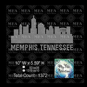 Memphis Skyline Rhinestone Digital Download File - My File Addiction