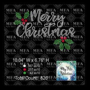 Merry Christmas Holly Rhinestone Digital Download File - My File Addiction