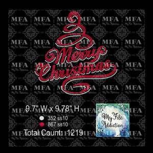 Merry Christmas Tree Rhinestone Digital Download File - My File Addiction