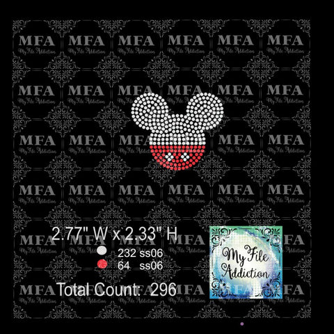 Mickey Hat 2 Colors Rhinestone Digital Download File