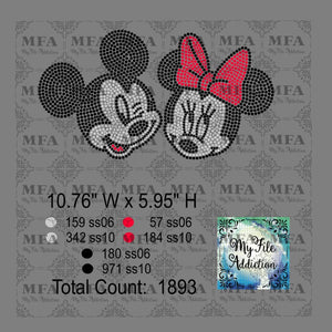 Mickey and Minnie Rhinestone Digital Download File - My File Addiction