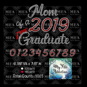 Mom of Graduate with Year Graduation Rhinestone Digital Download File - My File Addiction