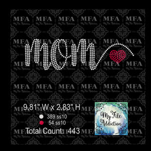 Mom with Heart Rhinestone Digital Download File