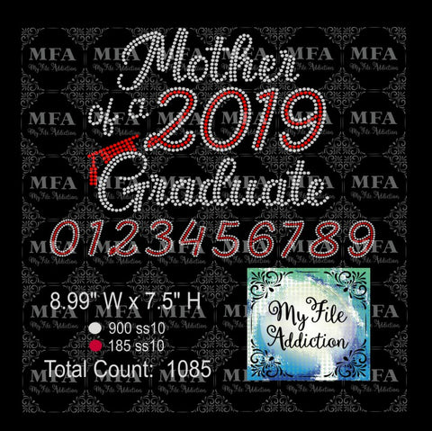 Mother of Graduate with Year Graduation Rhinestone Digital Download File