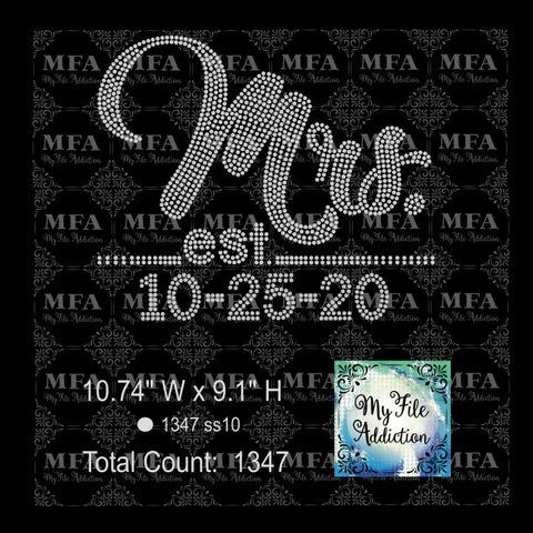Mrs with Dates Rhinestone Digital Download File - My File Addiction
