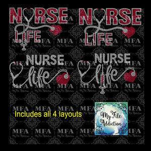 Nurse Life Bundle Rhinestone Digital Download File - My File Addiction