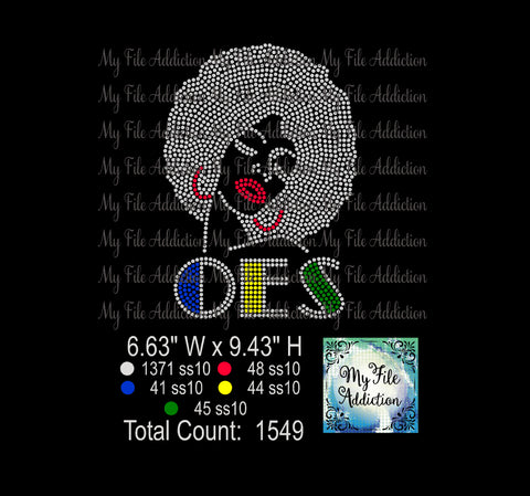 Afro Woman OES Rhinestone Digital Download File - My File Addiction