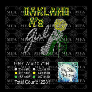 Oakland A's Rose Stiletto Rhinestone Digital Download File - My File Addiction