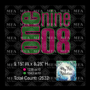 AKA One Nine 08 1908 Rhinestone Digital Download File - My File Addiction