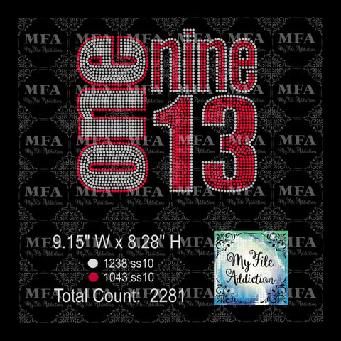 Delta One Nine 13 1913 Rhinestone Digital Download File - My File Addiction