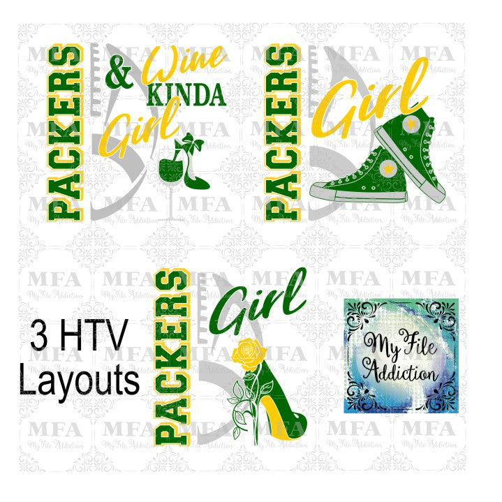 Packers Football High Tops Rose Wine High Heel Shoe Vector Digital Download File - My File Addiction