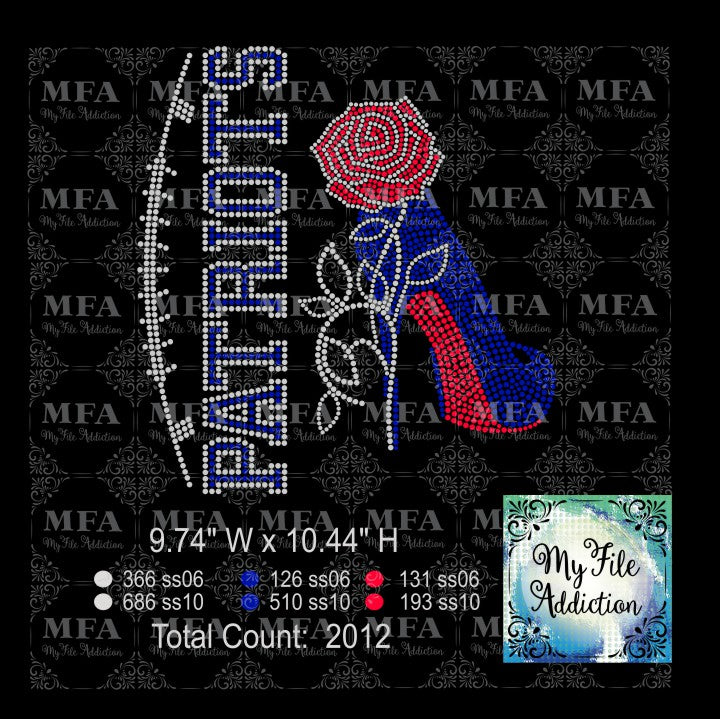 Patriots Rose Stiletto High Heel Shoe Rhinestone Digital Download File - My File Addiction