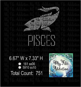 Pisces Zodiac Rhinestone Digital Download File - My File Addiction