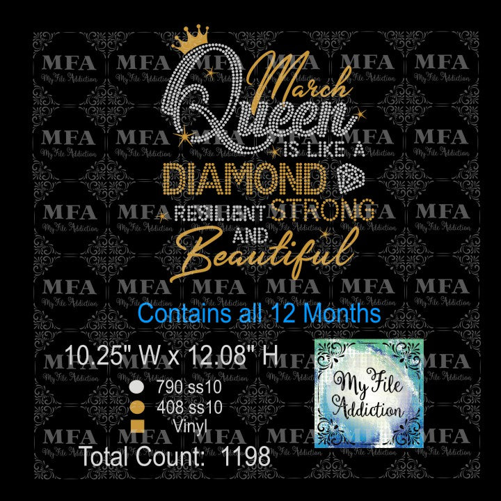 Queen Is Like A Diamond Birthday Rhinestone & Vector Digital Download File - My File Addiction