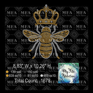 Queen Bee 2 With Crown Rhinestone Digital Download File - My File Addiction