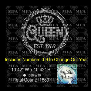 Birthday Queen with EST Date Rhinestone Digital Download File - My File Addiction