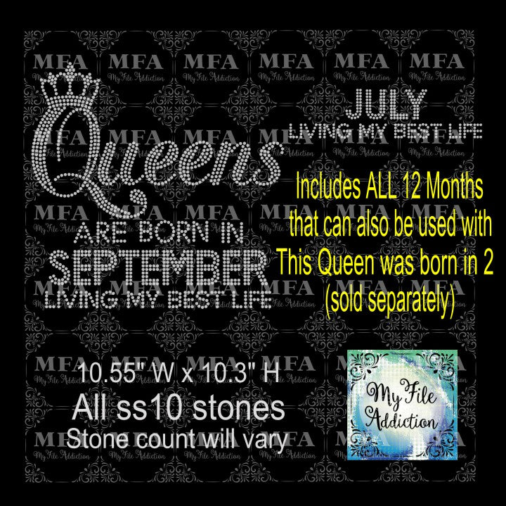 Queens Are Born In 2 Living My Best Life with Months Rhinestone Digital Download File - My File Addiction