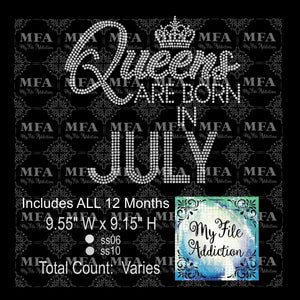 Queens Are Born In with Months Rhinestone Digital Download File - My File Addiction