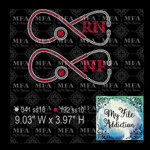 Infinity RN NP Stethoscope Rhinestone Digital Download File - My File Addiction